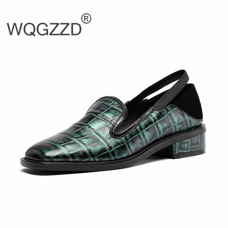 Green Casuales Pie Genuino Las Oxford Chaussures army De Cuadrado Los Mujer Zapatos Dedo Holgazanes Primavera Femme Cuero 2019 Nueva Del Black Mujeres ww7qAU1