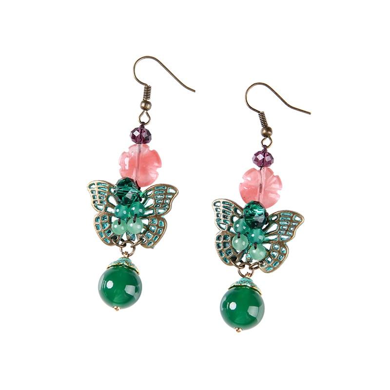 Out the papillon gland boucles d'oreilles longue oreille clip sans oreille percé femme eardrop joker tempérament pendentif - 4