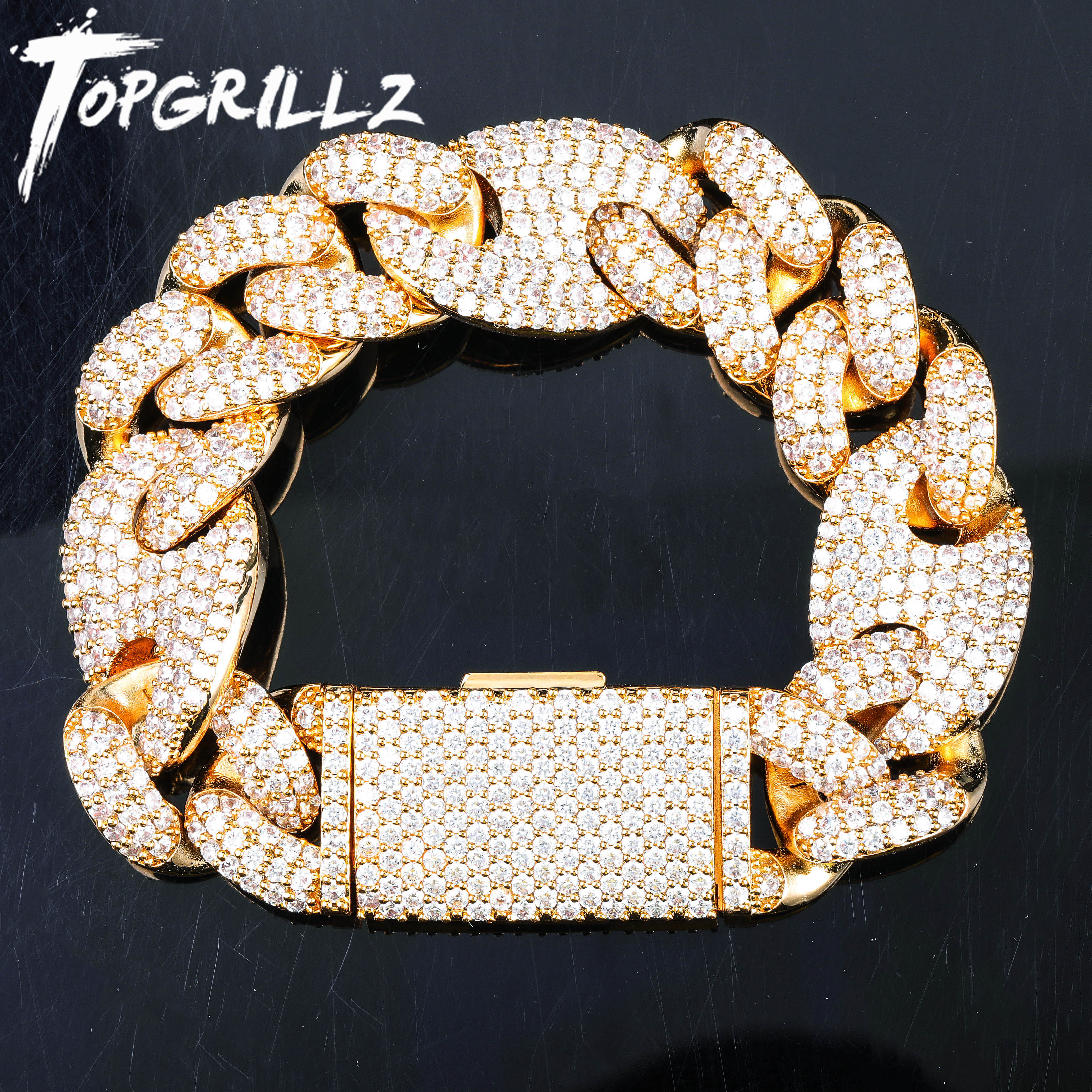 TOPGRILLZ Miami Lock Clasp Cuban Link 7 8 9 Inch Gold Silver Bracelet Iced Out AAA