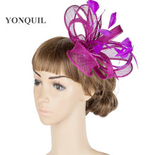 21 Color high quality sinamay fascinator hats women lady wedding headpiece feather headdress nice bridal hair accessoires MYQ077