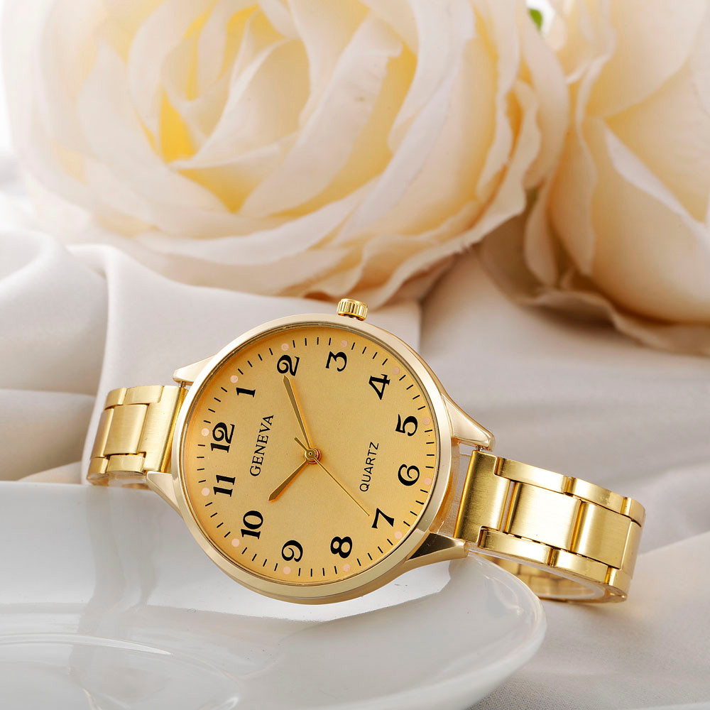 Geneva Quartz Brand Lady Watches Women Luxury Gold Stainless Steel Wrist Watch Luxury Clock For Ladies Relogio Feminino Montre durable fshion montre femme fashion geneva ladies women girl unisex relogio feminino stainless steel quartz wrist watch