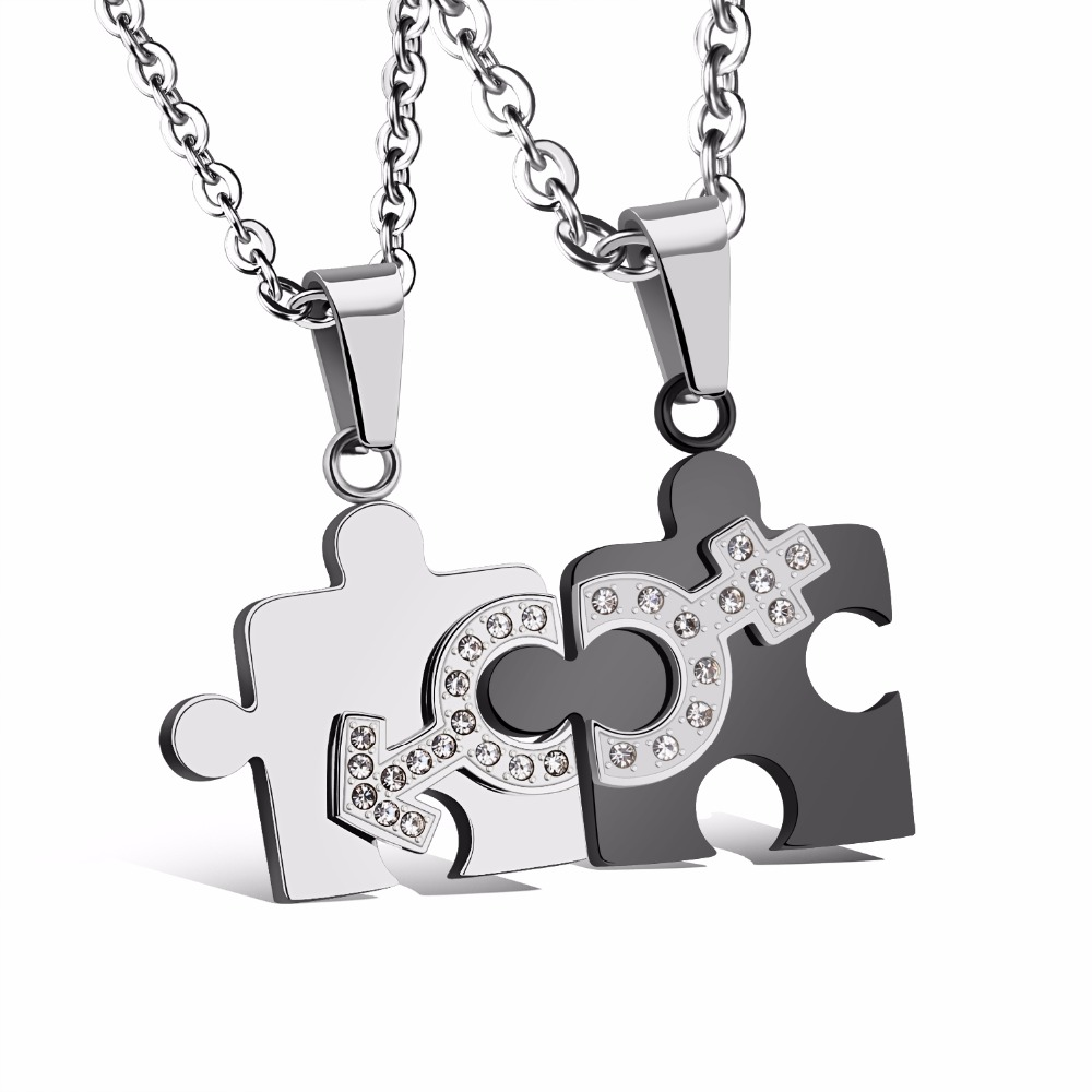 Matching 2pcs Set Stainless Steel Puzzle Piece Pendant Lovers Couple ...
