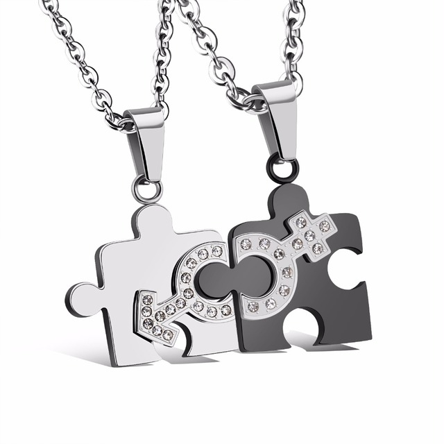 a6e3dd0239 Matching 2pcs Set Stainless Steel Puzzle Piece Pendant Lovers Couple Love  Necklace Valentine's Day Gifts for