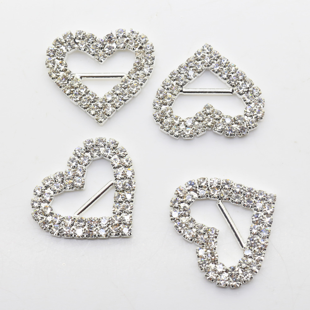 10pcs/lot 25mm Double Row Heart Rhinestone Buckle Slider For Wedding Invitation Diamante Ribbon Sliders