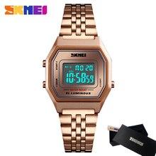 Moda skmei relógios digitais de luxo da marca feminina casual aço inoxidável relógio de pulso à prova dwaterproof água reloj