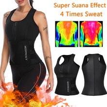 Neoprene shapewear sauna terno colete superior cintura ajustável trainer emagrecimento perda de peso feminino ajustável barriga shaper modelagem cinto