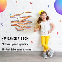 4m Colorful Gym Ribbons Dance Ribbon Rhythmic Art Gymnastic Ballet Streamer Twirling Rod Stick For Gym Training Professional(China)