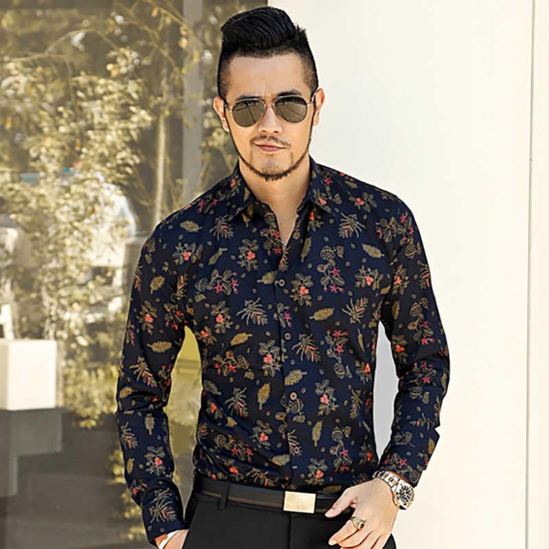 fa6cf1bb31cb ... new spring men's slim floral shirt printed shirt long sleeved casual  shirts Fashion Classic Men Dress ...