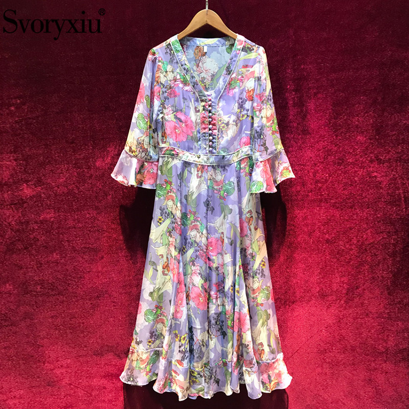 Svoryxiu 2019 Designer De Mode D'été de Mousseline de Soie Longue Robe Femmes Manches Demi Perles Romantique Fleur Pourpre Imprimer Col V Robes