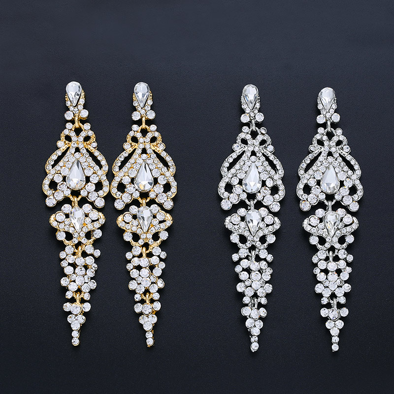 OCESRIO Long Crystal Wedding Earrings for Brides Chandelier Silver Drop Earrings Wedding Accessories Fashion Jewelry ers n58 in Drop Earrings from Jewelry Accessories