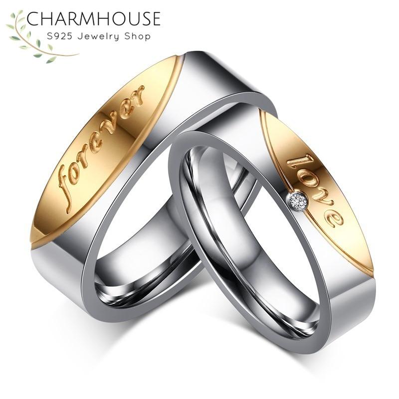 Любовь навсегда пару кольца для Для женщин человек Нержавеющаясталь обручальное кольцо обещание Обручение кольца Свадебные украшения ...