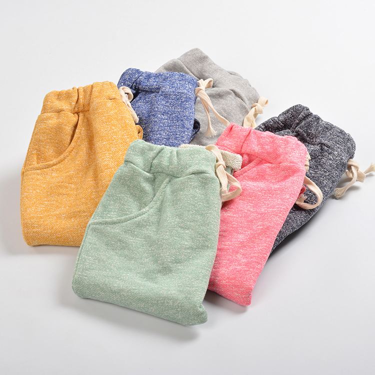 2017 Autumn Girls & Boy Harem Capris Pants For Age 12m-7 New Cute Candy Color Terry Child Clothing Solid Kids Children Long Pant
