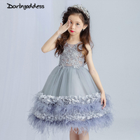 2017 Grey Lace 3D Rose Flower Girl Dresses Ball Gown Formal First Communion Dresses Kids Prom