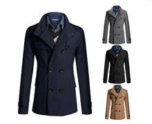 Зима великобритания стиль длинная плащ пальто мужчины свободного покроя мужчины в ветровка куртка мужчины плащ пальто мужчины верхней одежды