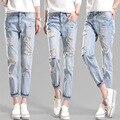 2016 Señoras de La Manera Pantalones Vaqueros de Alta Calidad de Las Señoras Del Agujero Pantalones Yardas Grandes De Señoras Pantalones Casuales MS Vaqueros Clásicos