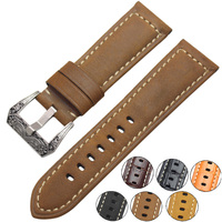 Italy Genuine Leather Watch Band Straps 22mm 24mm Thick Handmade Soft Watchbands Belt With Retro Steel