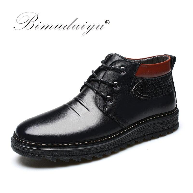 BIMUDUIYU Hommes Chaussures D'hiver Chaud Confortable En Cuir Martin Bottes de Neige Bottes D'hiver Imperméables Hommes de Artificielle En Peluche Chaud Bottes