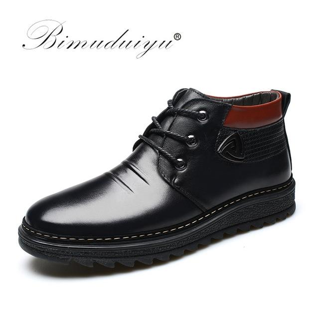 6c2456d19b1 BIMUDUIYU Men Winter Shoes Warm Comfortable Leather Snow Boots Waterproof  Winter Boots Men s Artificial Plush Warm Boots