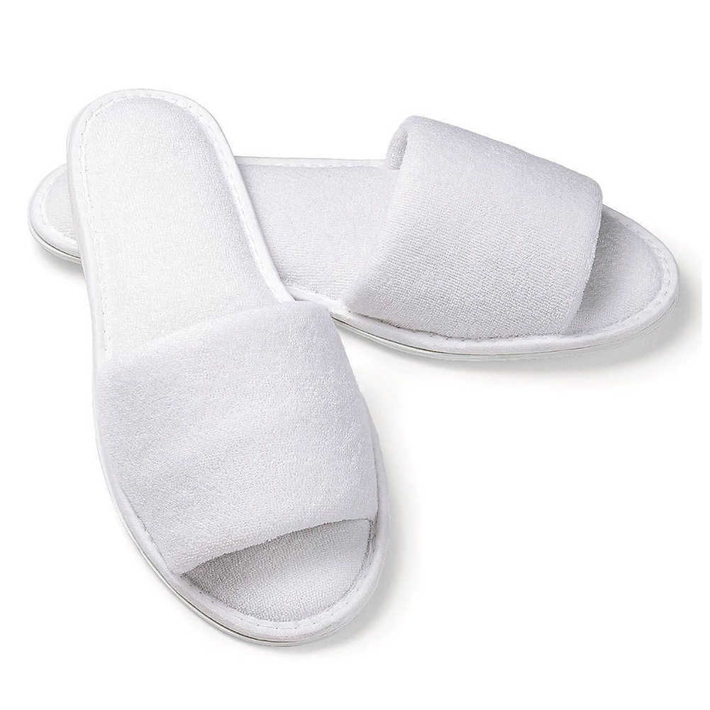 c2c196e38097fc Hot Fashion 5 pair White Towelling Hotel Disposable Toe Slippers Terry SPA  Guest Party Shoes