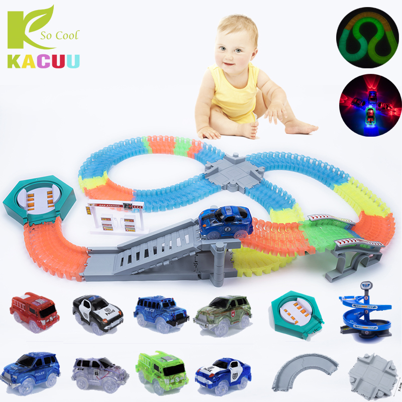 Magical track Glow in the dark DIY Universal Accessories Ramp Turn Road Bridge Crossroads Glowing Race Track Gifts for children glow in the dark diy educational silicone rubber band for children yellow green 300 pcs