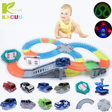Magical track Glow in the dark DIY Universal Accessories Ramp Turn Road Bridge Crossroads Glowing Race Track Gifts for children magic track mini racing car race cars track luminous road slot glow in the dark stunt railroad flexible glowing toys for boys