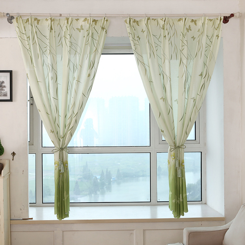 1 Piece Willow Leaf Flower Floral Printed Short Curtains Blackout For Hotel  Home Bedroom Living Room