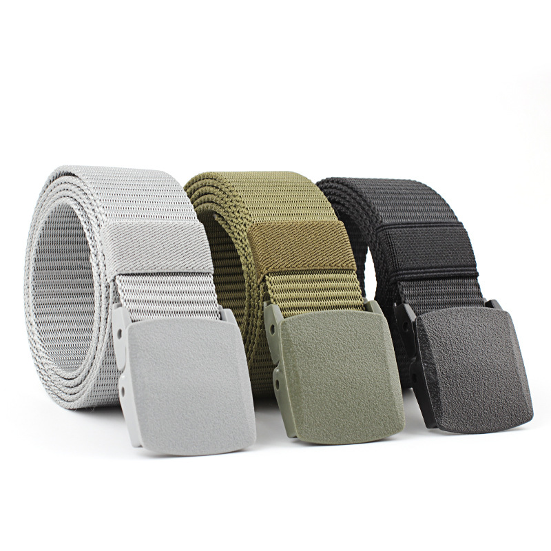 Men Leather Belt Military Elastic Stretch Buckle Canvas Wide Waistband Black