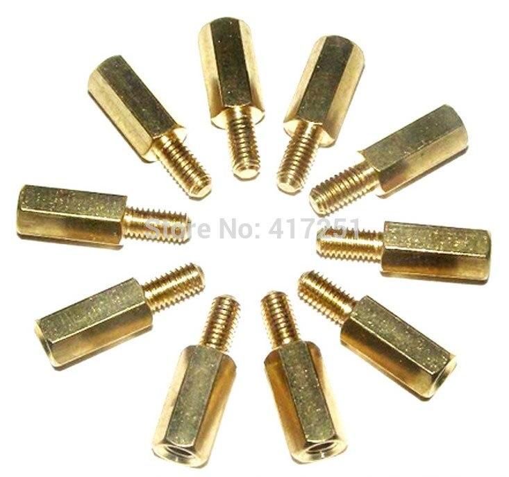 Низкая цена 1 шт. M3 * 8 + 6 мм с шестигранной резьбовые латунные Распорки шестигранной Медь Post Крепежи