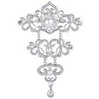 2016 New BELLA Silver Tone Clear Bridal Leaf Rhinestone Brooch Pins Simulated Ivory Pearls Brooches Wedding