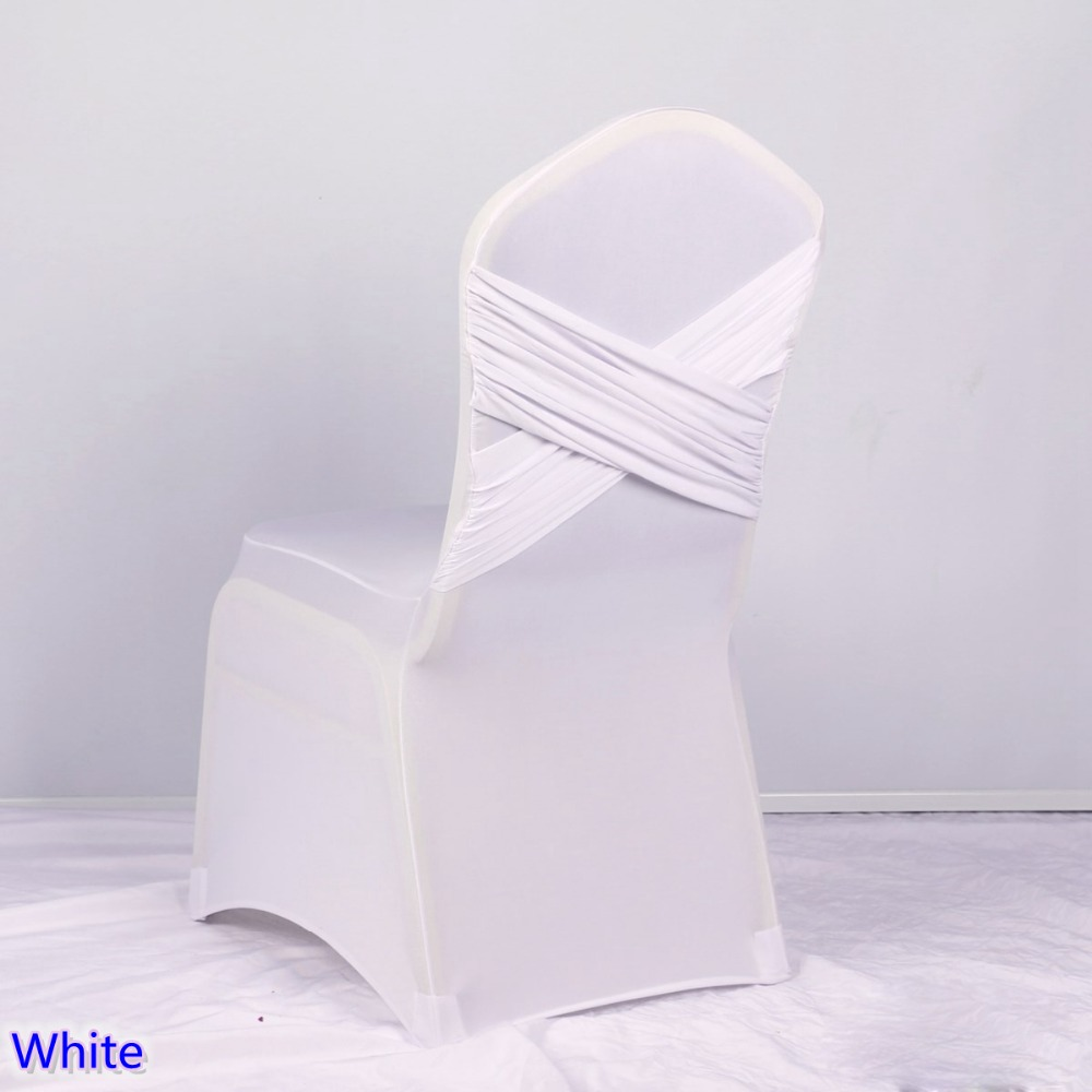 White Colour Cross Back Swag Lycra Chair Cover Ruffled