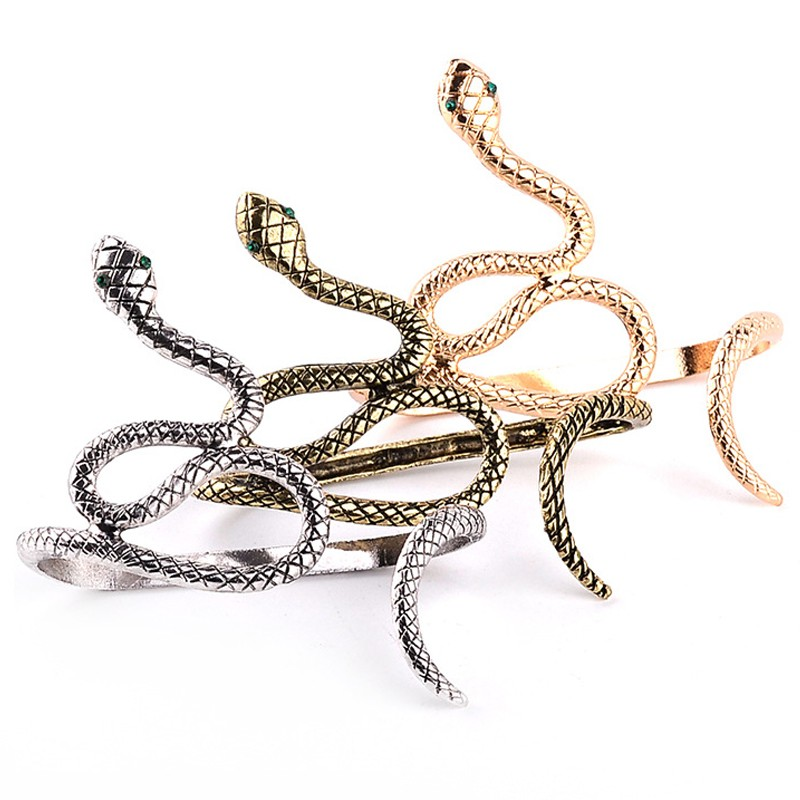 Egypt Cleopatra Opened Spiral Snake Punk Hand Palm Cuff Armlet Armband Bangles Vintage Bracelet Cuff Jewelry For Women 3 colors