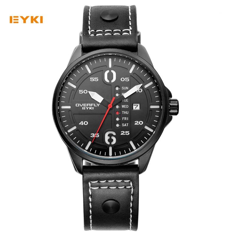 Top Luxury Brand EYKI Men Sports Watches Men's Quartz Date Clock Man Leather Army Military Wrist Watch Meskie Zegarki Green