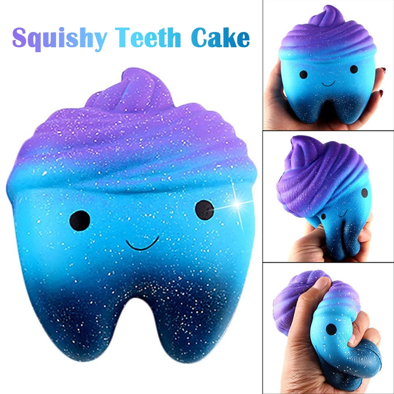 Cute Cartoon Squishy Tooth Cake PU Phone Strap Slow Rising Squeeze Squishes Toys Gift