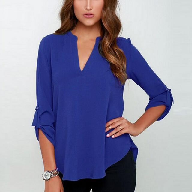2019 Women V Neck Solid Chiffon Blouse Spring Sexy lady Long Sleeve Blusa  Fashion Blouses Shirt Tops Plus Size S-5XL New c5682d6b6517