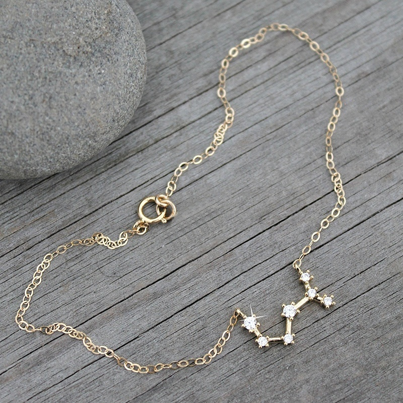 BOAKO Horoscope Anklet Bracelet Zodiac Sign Anklets For Women Gold Pendant Astrology Tobillera 12 Constellation girl gift Z5 in Anklets from Jewelry Accessories