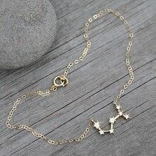 BOAKO Horoscope Anklet Bracelet Zodiac Sign Anklets For Women Gold Pendant Astrology Tobillera 12 Constellation girl gift Z5