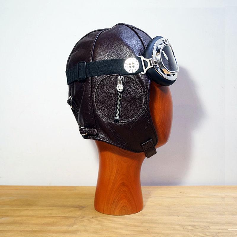 Retro leather goggles pilot cap Steam Punk hat Mask Steampunk Daft Punk Metal Rivet Goggles Handmade Vintage aviation helmet - 2