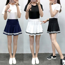 2019 Preppy Style High Cute Waist Chic Striped Stitching Skirt  Mini A-line Sailor New Harajuku School Girls Unifor