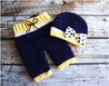 Free shipping,baby Photography Prop,newborn girls Navy blue bow Hat and Pants crochet baby Sets NB-3month