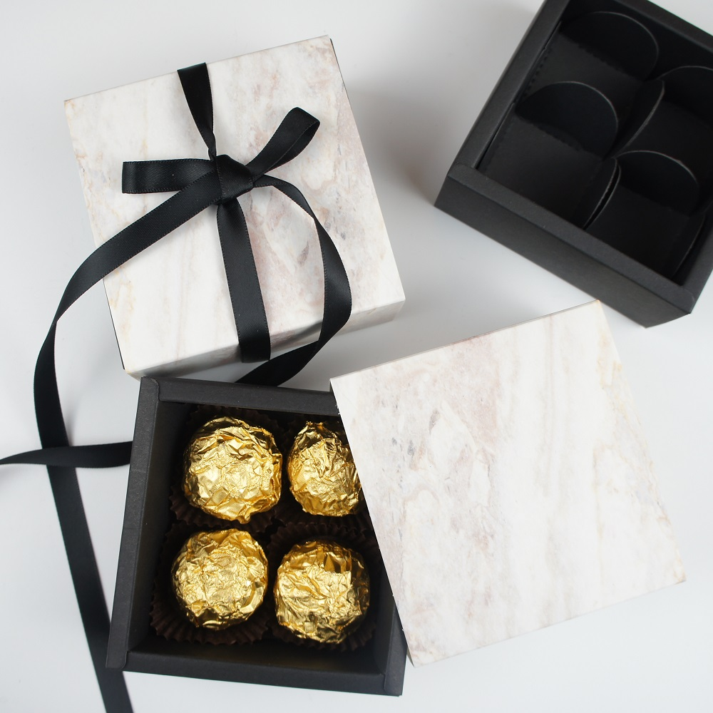 High Quality 8.9*8.9*3.5CM Marble Pattern 10 Set Chocolate Paper Box Valentine's Day Candy Storage Boxes DIY Handmade Multi-use