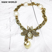 2019 Jewelry Fashion Beautiful Gift Retro Girl Bee Pearl Chain Necklace 1 Piece Free Shipping Beautiful Birthday Gift