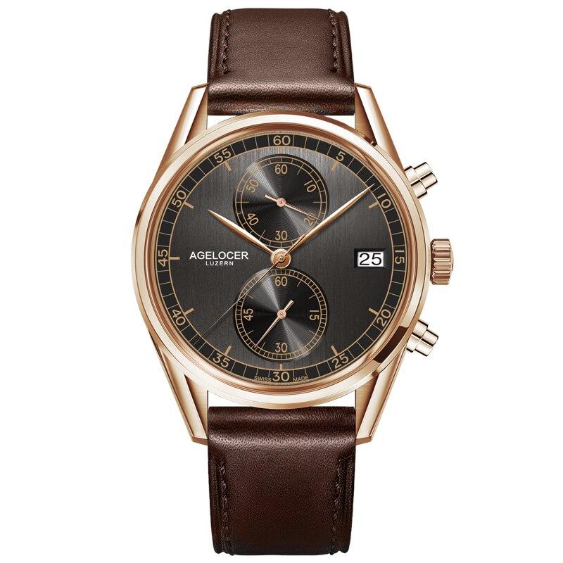 Agelocer Дизайнер часы мужской из натуральной кожи ремешок черный циферблат кварцевый механизм Наручные часы аналоговые автоматические Часы