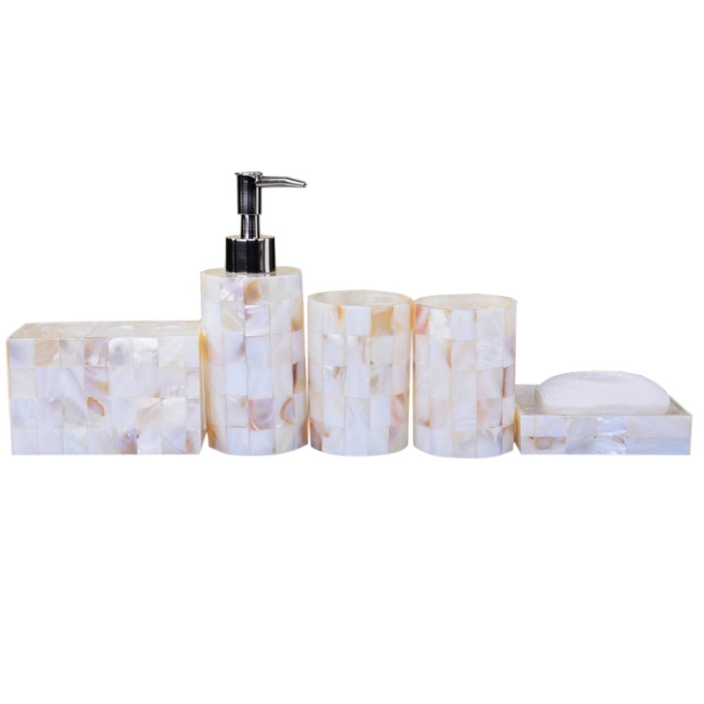 Art decorative pearl shell bathroom accessory set soap Soap lotion dispenser set