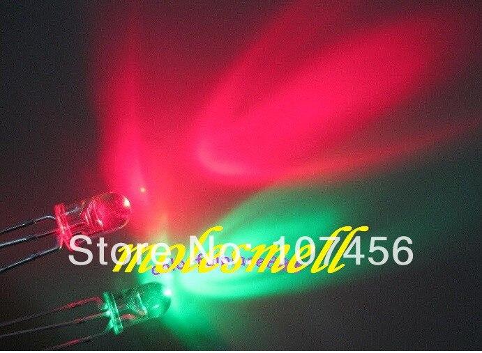 1000pcs 5mm Dual Bi Color Red Green Bright 3 Pin Led Common Cathode Leds Lamp