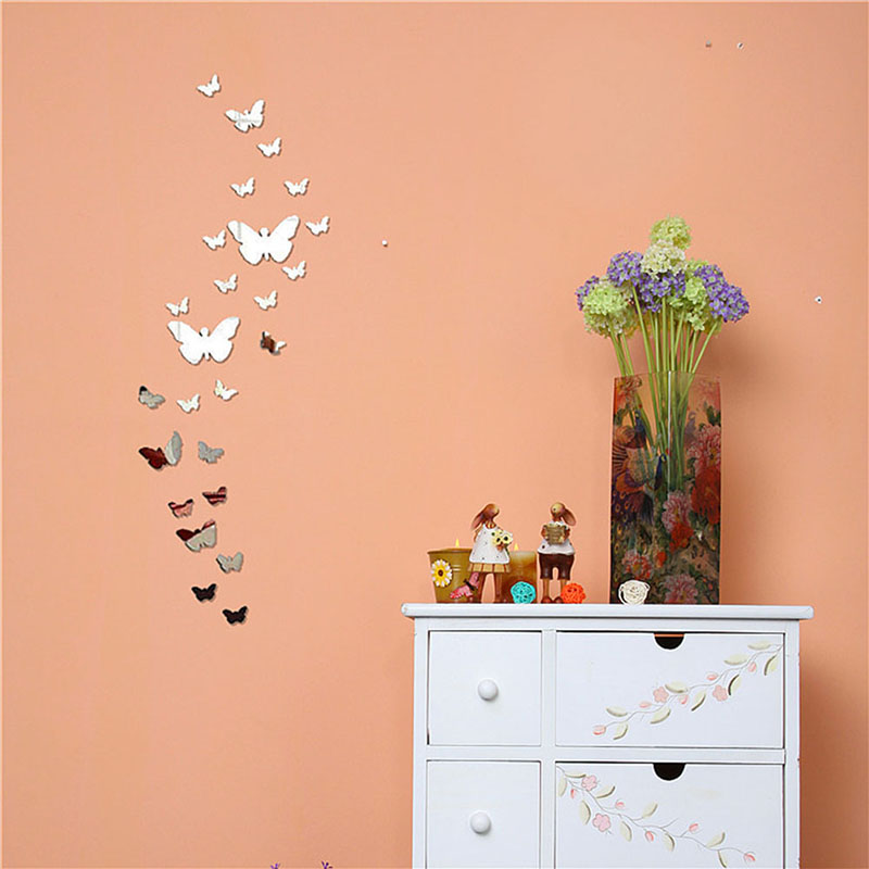 Silver Bling Bling Acrylic 3D Butterfly Design Mirror Effect Wall Sticker  DIY For Artistic Living Room