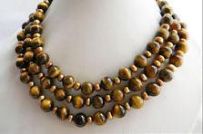 New Arriver 50'' Long 4-10MM Round Tiger's Eye Coffee Slice Freshwater Pearl Necklace Handmade Jewelry