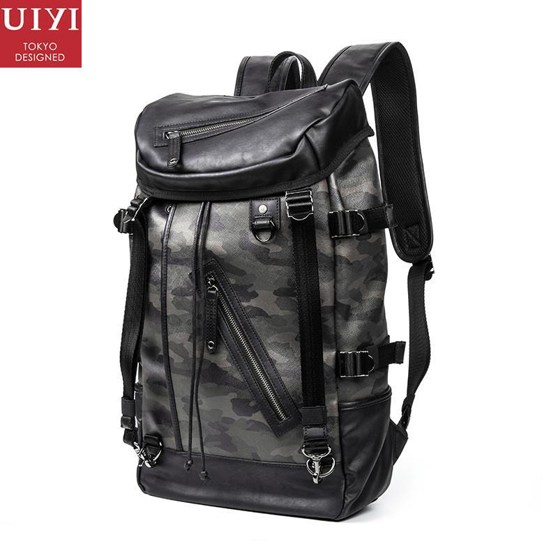 UIYI Men Backpack Satchel PU Leather PVC Large Capacity Camouflage Travel Women Casual Laptop School College Style Bag 150118 women fashion backpack college student travel bag satchel schoolbag large capacity ladies pretty shoulders package birthday gift