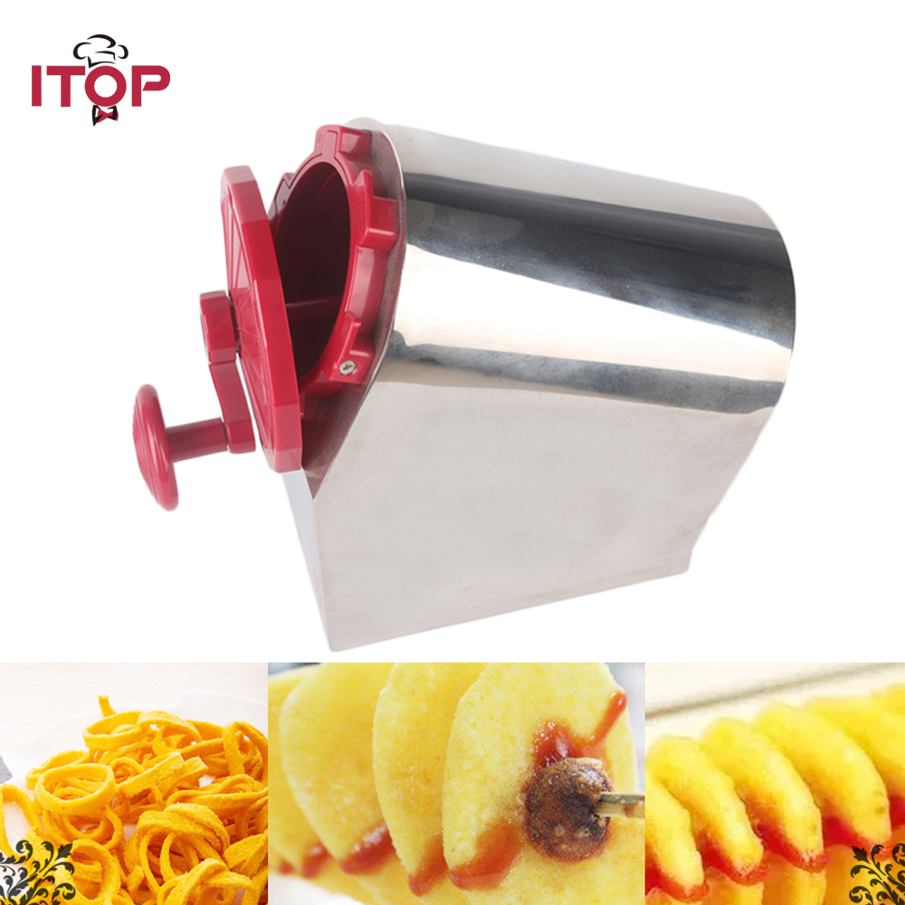 ITOP Manual Stainless Steel Spiral Potato Slicer Potato Tower Kitchen Tool Fruit & Vegetable Tool Potato Tower Cutter potato spiral cutter stainless steel electric fruit vegetable spiralizer professional kitchen tools potato cutting machine