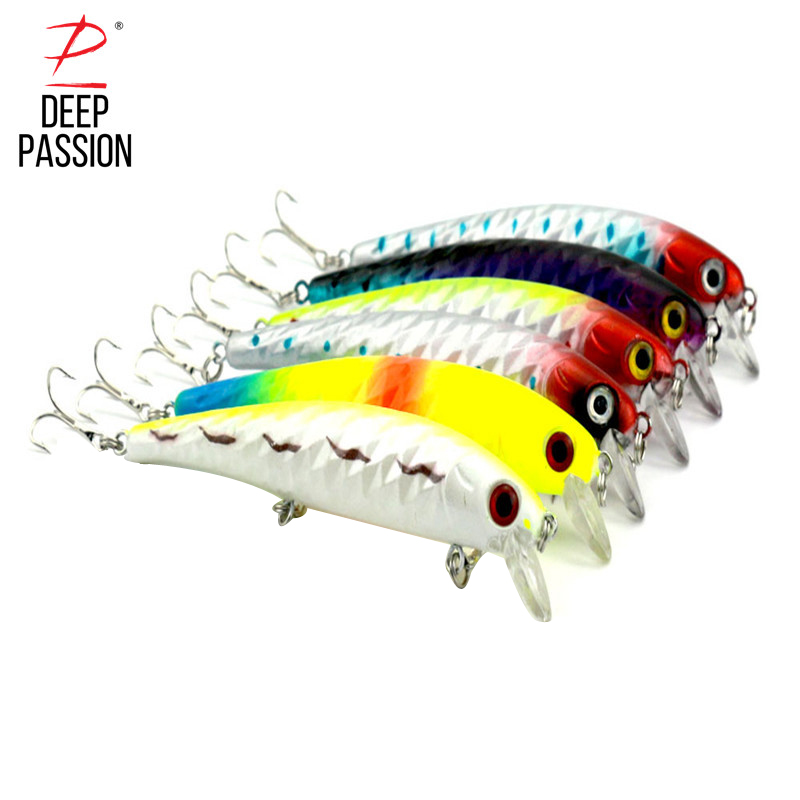 DEEP PASSION 6PC Mino Bait Fishing Tackle Lure Kit Minnow Crankbaits Hard Bait Lure Integrated Bait Artificial Fishing Gear Lure
