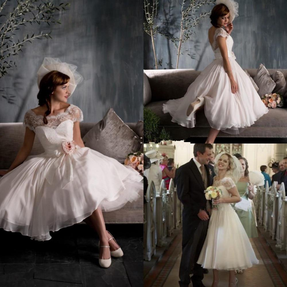 Romantic Church Tea Length Appliqued Lace Sheer Sexy Bridal Gowns Cap Short Sleeve Vestido de noiva party Bridesmaid Dresses